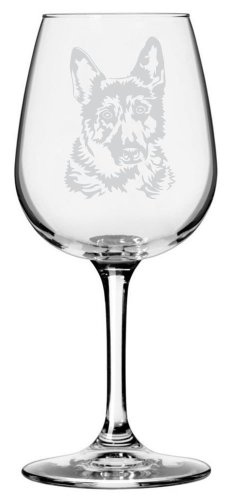 German Shepherd Dog Themed Etched All Purpose 12.75oz Libbey Wine - Glasses German