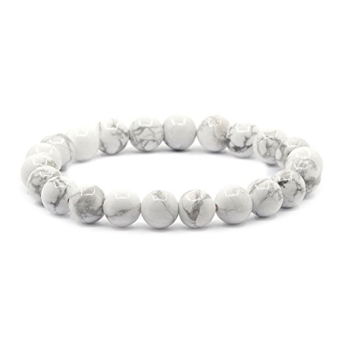 Marble Beaded Bracelet - Natural White Howlite Gemstone 8mm Round Beads Stretch Bracelet 7