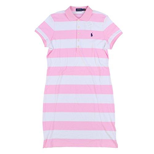 RALPH LAUREN Polo Womens Interlock Polo Dress (Medium, Pink Stripes Purple (Ralph Lauren Pink Dress)
