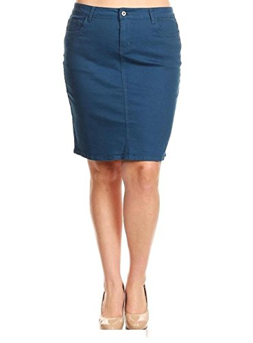 Jack David Sexy Womens Plus Size Stretch Denim Jeans Casual Twill Cotton Skirt Modern Series (2X, Navy/Blue Twill Cotton Skirt) (Denim Skirt Stretch Bleach)