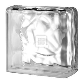 Quality Glass Block 7.5 x 7.5 x 3 Basic Wave Double End Block by Quality Glass Block