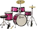 Princess Pink Drum Set with Cymbals Stool Stands Sticks Complete Kids Junior Kit by Gammon Percussion