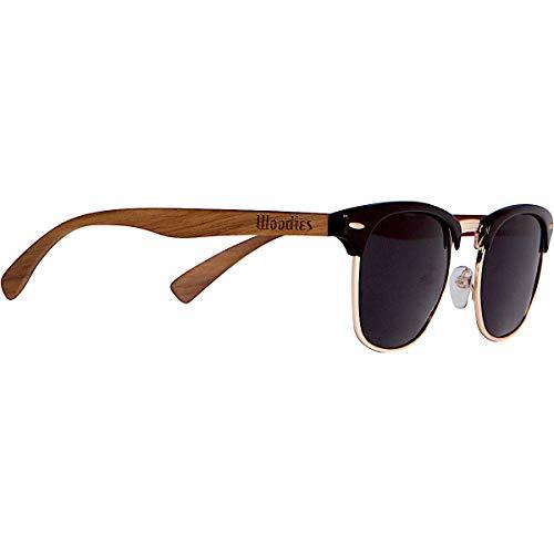 Woodies Walnut Wood Half-Rim Sunglasses with Polarized Lens