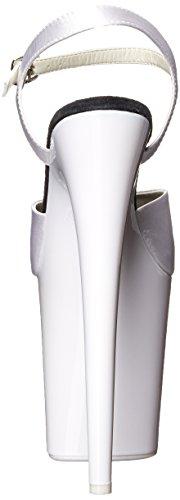 Satin 809uv Flamingo Women's Neon White Pleaser Sandal White EqXppO