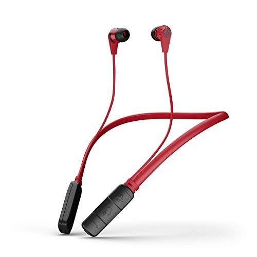 Skullcandy Ink'd Bluetooth Wireless Earbuds with Microphone, Noise Isolating Supreme Sound, 8-Hour Rechargeable Battery, Lightweight with Flexible Collar, Red/Black