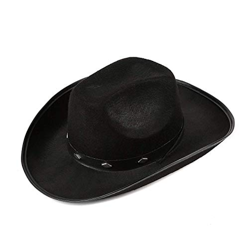 Fun Central AZ941, 1 Pc Black Felt Studded Cowboy Hat, Western Cowboy Hat Boys Men, Felt Cowboy Hat