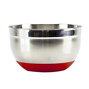 JIAO- Skid-Proof Stainless Steel Salad Bowl, L21cm x W21cm x H12cm