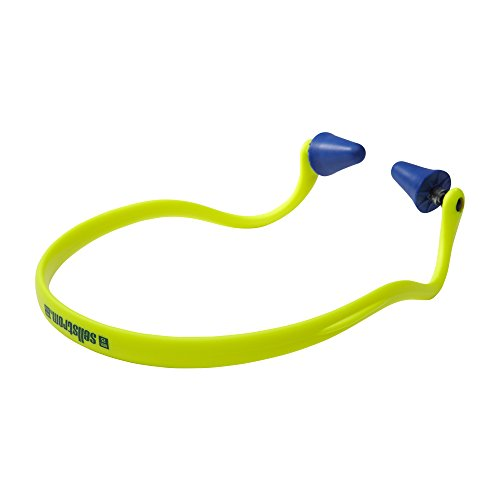 Sellstrom S23430 Banded Ear Plug, Hearing Protection with Blue Pods - Hi-Vis Green