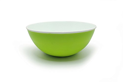 Salad Bowl ~ Premium Fruit / Cereal Bowl with Appealing Colors~ 100% Stain Proof Durable Shatterproof Thick Plastic ~ 54 Fluid Oz Capacity ~ Use as Soup/Desert Bowl [2year Warranty] (1, Green)