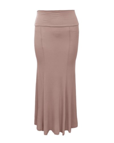 Plus Size Mocha Flared Long Skirt Elastic Waist