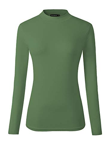 Veranee Women's Long Sleeve Slim Fit Turtleneck Basic Layering T-Shirt (Medium, Fruit Green)