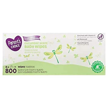 Amazon.com : Parents Choice Baby Wipes, 12 packs of 100 (1200 count) (Cucumber Scent) : Baby