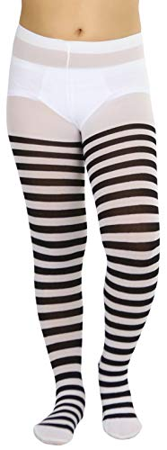 ToBeInStyle Girls' Horizontal Striped Full Length Tights - Black/White - Large -