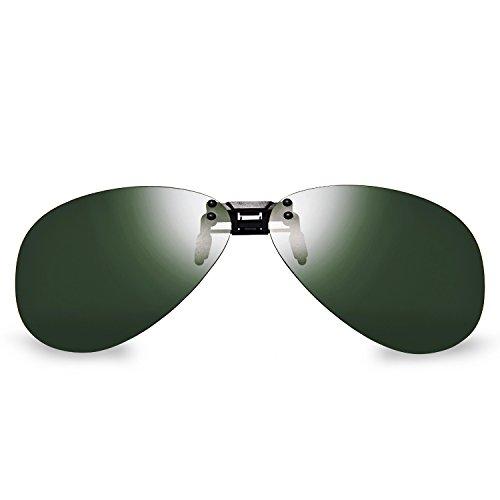 Aviator Clip - BELLBESSON-Polarized Clip-on Flip up Clip Classic Aviator Sunglasses Lenses UV400 (Dark Green)