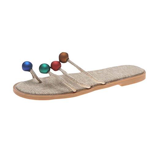 LIM&Shop Women Flat-Soled Pop Bead Sandals Flip Flops Summer Beach Slippers T-Strap Flats Sandals Beach Slip On Retro Beige from LIM&SHOP-Sandals & Sneakers