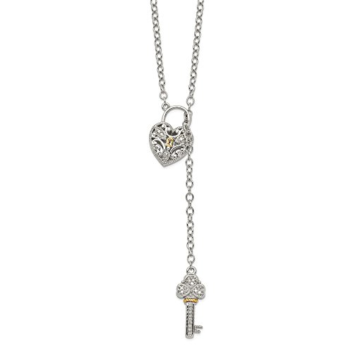 White Gold Diamond Heart Key - 14K White Gold Diamond Heart Lock Key Necklace Solid 3 mm 18 in Yellow Diamond Necklaces Jewelry