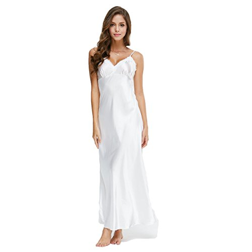 TVRtyle White Long Women's Satin Lace V-Neck Chemise Nightgown Sexy Full Sleepwear S-XL (Nightgown Long Chemise)