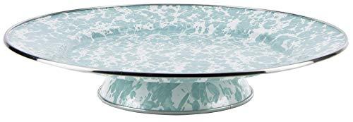 Enamelware - Sea Glass Teal Swirl Pattern - 12.5 Inch Cake Plate