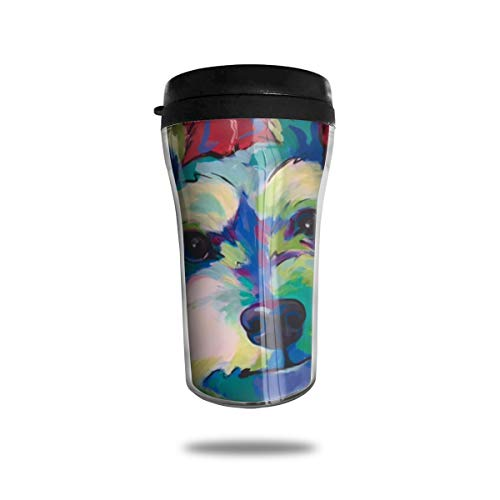 (FTRGRAFE Oil Painted Poodle Travel Coffee Mug 3D Printed Portable Vacuum Cup,Insulated Tea Cup Water Bottle Tumblers for Drinking with Lid 8.54 Oz (250 Ml))