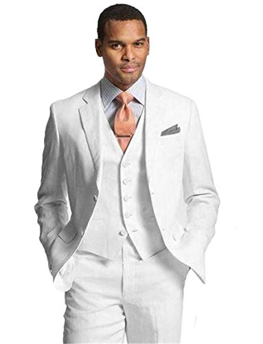 Mens 3 Piece Tuxedos Groomsmen Wedding Suit Blazer Jacket Pants Vest Set White ()