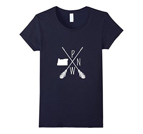 Womens Pacific Northwest Oregon Pnw T Shirt Medium Navy