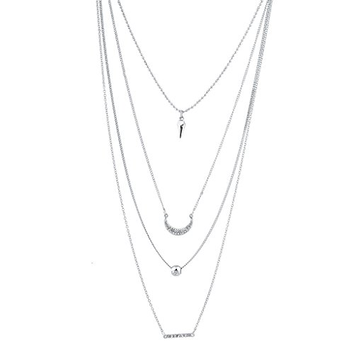(Lux Accessories Silver Tone Layered Spike Crystal Rhinestone Geometric Necklace)