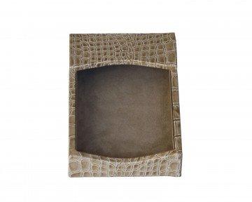 Dacasso Protacini Breeze Beige Italian Patent Leather 4 x 6 Memo Holder