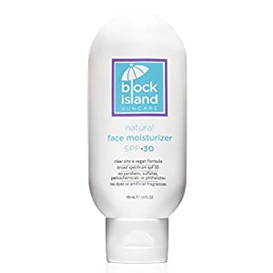 Block Island Organics - Natural Face Moisturizer SPF 30 with Clear Zinc - Broad Spectrum UVA UVB Protection - Daily Anti-Aging Sunscreen Sunblock - EWG Top Rated - Non-Toxic - Made in USA - 3.4 FL OZ
