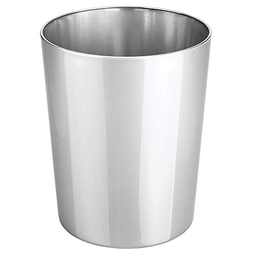 mDesign Round Metal Small Trash Can Wastebasket, Garbage Container Bin for Bathrooms, Powder Rooms, Kitchens, Home Offices - Durable Steel - ()