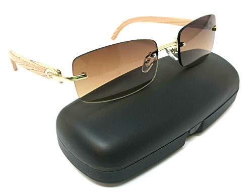 Dean Slim Rimless Rectangular Metal & Wood Aviator Sunglasses (Rose Gold & Light Brown Wood w/Case, Brown)
