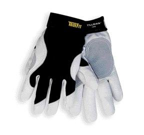 Tillman Large Black And White TrueFit Full Finger Top Grain Goatskin And Spandex® Premium Mechanics Gloves With Elastic Cuff, Double Leather Palm, Reinforced Thumb And Smooth Surface (Leather Palm Mechanics Glove)