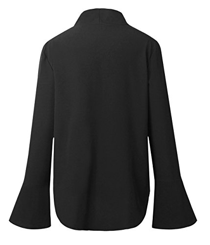 Manches Couleur Haut Blouses Chemisiers V Tops Irregulier Noir2 Bandage Shirts Col T Unie Mode Courtes t Femme zx84XX