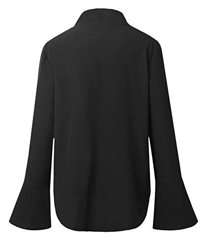 Haut Femme V Shirts Bandage Chemisiers Courtes Unie Irregulier T Couleur Blouses Mode Manches t Casual Noir2 Col Onlyoustyle Tops AI1xwzqw