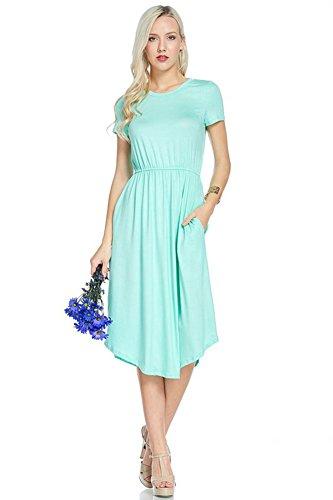 Mint Womens Dress - NeeSee's Dresses Cute Midi Dress (Large, Solid Mint Short Sleeve)