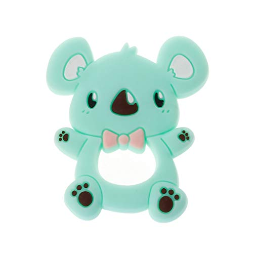 Koala Kids Chewables - Safe Cartoon Baby Teethers BPA Free Cute Animal Koala Infant DIY Ring Teether Toddler Silicone Chew Charms Kids Teething Toys-Green