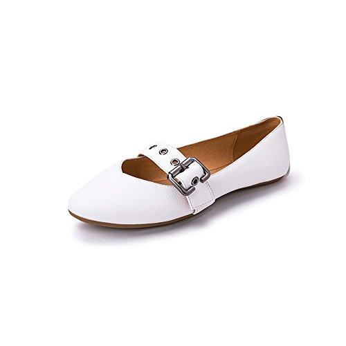 2db3776e El servicio durable YQQ Zapatos Planos Sandalias De Mujer Zapatos De  Guisantes Cabeza Redonda Hebilla De