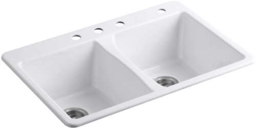 Double Rimming Bowl Hole Self (KOHLER K-5873-4-0 Deerfield Double Bowl Top-Mount Kitchen Sink with Four Hole Drillings, White)