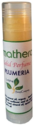 Long Lasting Organic & Natural Solid Perfume - Plumeria Flower Scent 0.2 oz Tube