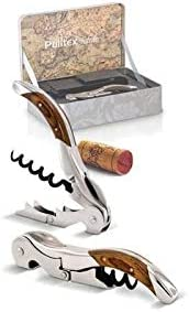 Pulltex - Juego de sacacorchos PULLTAP'S Modelo TOLEDO con acabados de madera y estuche de cuero - Caja de regalo Caja de metal - - EDICIÓN LIMITADA -