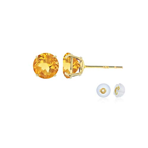 Genuine 14K Solid Yellow Gold 4mm Round Natural Citrine November Birthstone Stud Earrings ()