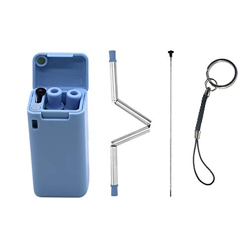 Mai Z i Reusable Collapsible Straw Stainless Steel,Folding Drinking Straws Food-Grade Portable Set Foldable Drinking Straws Keychain With Case Cleaning Brush,Can be used outdoors and travel,blue