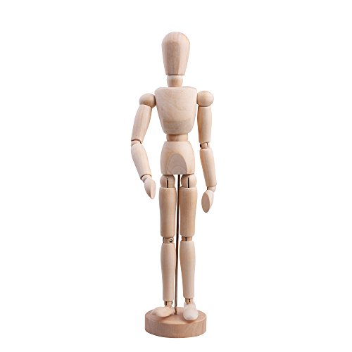 "Cosmos 12"" Wooden Articulated Figure Manikin Articulated Mannequin Artist Drawing Mannequin Model for Drawing Sketching Painting, with Stand/Base"
