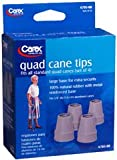 Carex Quad Cane Tips, Grey 5/8'' - Set of 4, Pack of 2