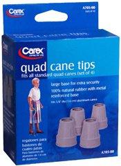 Carex Quad Cane Tips, Grey 5/8'' - Set of 4, Pack of 2