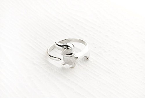 RuiCen Puppy Dog Animal Wrap Ring White Shiny Silver Jewelry Adjustable Gift for Women and Girls