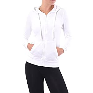 Sofra Teejoy Women's French Terry Zip Up Hoodie Jacket (S, White)