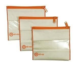 Neat-os 3pk Sandwich Sized Reusable Bag Set (orange)