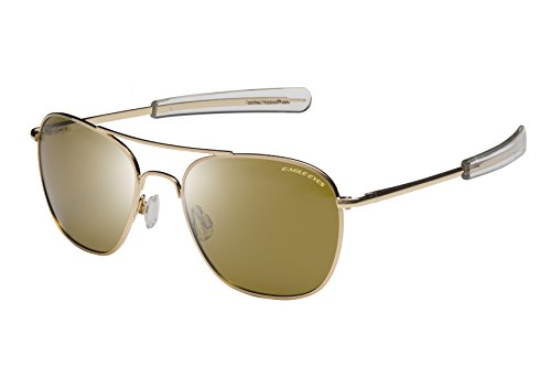 Eagle Eyes FREEDOM Aviator Sunglasses - Gold Rims with Polarized Lenses, - Issued Navy Glasses