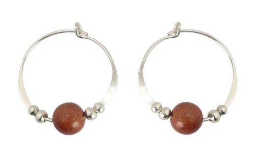 Bali Sky Small Sterling Silver Goldstone Beaded Hoop Earrings SHS017 (Bali Sterling Silver Spacer Beads)