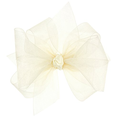 (Wee Ones Baby Girls' Medium Classic Organza Double Hair Bow on Barrette - Ecru )